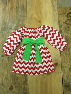 Girls Christmas peasant Dress & sash detail. Red White chevron. Brigth Green fabric sash. Your choice sleeve. By EverythingSorella