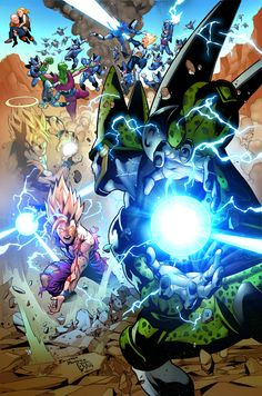 Gohan vs Cell, Dragon Ball Z artwork by Pansica inks by Denis Dym Freitas colors by Deffectx. Gohan Vs Cell, Dragon Ball Gt, Fan Art, Manga Dbz, Figurine Dragon, Estilo Anime, Spiritus, Z Arts, Son Goku