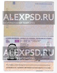 Lithuania passport • ALEXPSD Passport Template, Photoshop, Psd Templates, Names, Step By Step, Lithuania, Passport