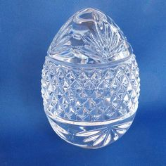 Clear Crystal Glass Paperweight Easter Egg Heavy 3.5 inch France