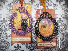 Tim Holtz Mini Frame die Use to highlight a photo or other die cut element on a tag, layout, or canvas. This example shows Halloween, but other holidays would work too!