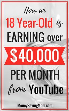 How an 18 Year-Old is Earning over $40,000 from YouTube Each Month! This story is SO inspiring! Make More Money, Ways To Save Money, Make Money From Home, Money Saving Mom, Make Money Blogging, Earn Extra Cash, Extra Money, Youtube Money, Budgeting Money