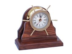 Solid Brass Ship Wheel Clock on Wooden Base