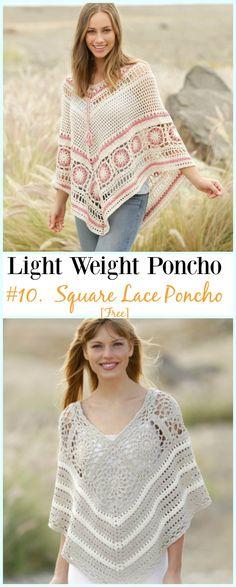 Crochet Square Lace Poncho Free Pattern-Light Weight Spring Summer #Poncho; Free #Crochet; Patterns