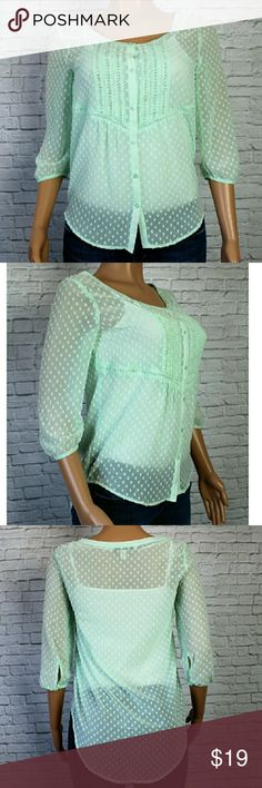 "Lauren Conrad Sheer Green Button Up Blouse A very cute mint green blouse, button up, with textured flowers. High low with half sleeves. EUC Size XS  Bust 17"" Length 23.5""- 26"" Sleeves 16.5"" LC Lauren Conrad Tops Button Down Shirts"