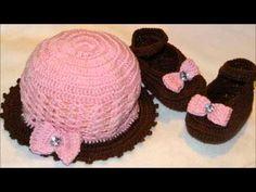 Touca, Sapatinho de Crochê Verão infantil - Professora Simone