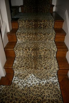 vignette design: A Little Leopard Here and There Refinish Stairs, Vignette Design, New Staircase, Beautiful Stairs, Stair Lighting, Basement Stairs, Carpet Stairs, Painted Floors, Stair Railing
