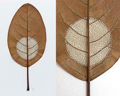 Esculturas em folhas secas com croche - IDEAGRID _08