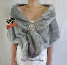 """Black Bridal luxe fausse fourrure étole//Wrap//Châle//Shrug Wedding 71/"""""""