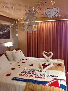 Stateroom decorated by Carnival Victory! Honeymoon decorations