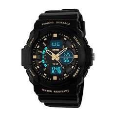 Digital Electronic Waterproof Sport Watch Digital and Pointer Dual Display Multifunction JapaneseQuartz Waterproof and Back Light  BlackGold *** For more information, visit image link.Note:It is affiliate link to Amazon.