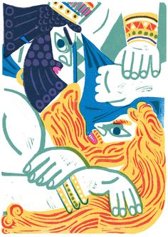 """Gilgamesh"" illustration by Irene Rinaldi (Italy/Italie, Roma/Rome), linogravure, lino"