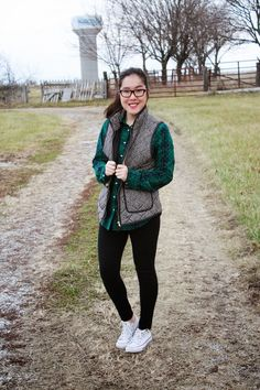 Because I'm basically basic; Converse, leggings, plaid top, herringbone vest and red lips. See how I styled my plaid 2 other ways on the blog!