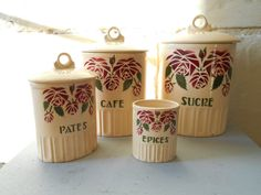 French Art Deco kitchen canisters with roses decor by Birdycoconut