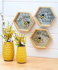 Accent your homethis spring with thebreezy pieces in this Honey Bee Home Decor collection. The Inspirational Wall Decor hasa honeycomb-shaped Honey Bee Home, Honey Bees, Honeycomb Shape, Bee Party, Cute Bee, Bee Theme, Home And Deco, Mellow Yellow, Cookies Et Biscuits