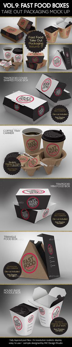 Fast Food Boxes Vol.9: Take Out Packaging #Mock Ups - #Food and Drink #Packaging Download here: https://graphicriver.net/item/fast-food-boxes-vol9-take-out-packaging-mock-ups/19377907?ref=alena994