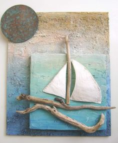 sailboat wall hanging with driftwood Driftwood Projects, Driftwood Art, Sea Crafts, Seashell Crafts, Shell Art, Summer Crafts, Beach Art, Pebble Art, Stone Art