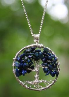 Blue Gemstone Chip Tree of Life on Silver Hand Wire Wrapped Pendant