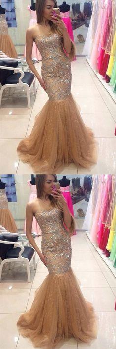 Sweetheart Rhinestone Prom Dresses, Long Mermaid Prom Dresses, Tulle Prom Dresses, Popular Prom Dresses, Cheap Prom Dresses, 2017 Prom Dresses, Prom Dresses, PD0944