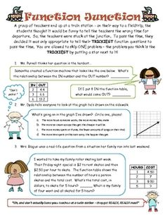 This is a function review based on word problems.  Students answer questions and fill in tables according to the function.  This was used as an in ...