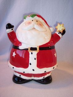 Christmas Santa Claus Cookie Candy Jar Housewares Int'l. Ceramic Hand Painted