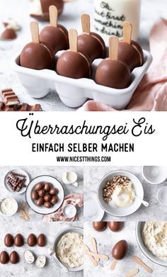 Überraschungsei Eis / Ü-Ei Eis am Stiel - Nicest Things, Überraschungsei Eis / Ü-Ei Eis am Stiel Baby Food Recipes, Dessert Recipes, Cooking Recipes, Brunch Recipes, Ice Cream Pops, Creamed Eggs, Ice Ice Baby, Homemade Baby Foods, Popsicles