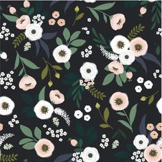 The Wonderland wallpaper features dusty pink and cream flowers surrounded by green foliage in a dark grey background. Rose Wallpaper, Kids Wallpaper, Pattern Wallpaper, Tapestry Wallpaper, Wallpaper Direct, Bedroom Wallpaper, Wallpaper Roll, Wall Wallpaper, Flower Illustration Pattern