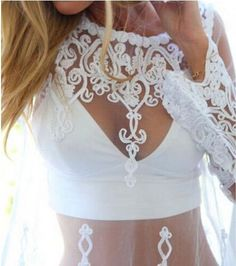 Summer Style Sheer See Through Tops Women Chiffon Embroidery Long Sleeve Lace Blouse Crochet Shirt Blusa Clothing Black White