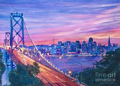 San Francisco Nights by David Lloyd Glover ~ Golden Gate Bridge cityscape ~ watercolor San Francisco At Night, San Francisco Art, Watercolor Paintings For Sale, Watercolour, Dope Cartoon Art, Bridge Painting, Cityscape Art, Canvas Art, Canvas Prints