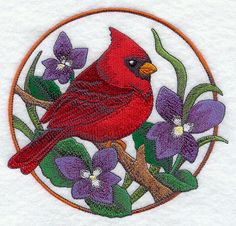 """Cardinal and Violet Circle Product ID: H2944 Size: 6.1""""(w) x 5.87""""(h) (155 x 149 mm) Color Changes: 23 Stitches: 52674 Colors Used: 17"""