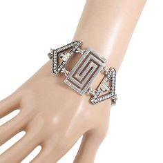 Antique Silver Color Chain with Rhinestone Big Geometric Charm Bracelet