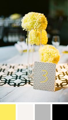 Yellow, White, Gray, Black Color Palette | fab event design https://www.theknot.com/marketplace/fab-event-design-minneapolis-mn-243697 | Laura Ivanova Photography https://www.theknot.com/marketplace/laura-ivanova-photography-minneapolis-mn-297493