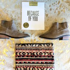 Gifts for someone you love just because! Read between the lines print $20 Cassidy booties $100 talk like an aztec bag $50 call/text for info or to order! 479.445.5964 #RiffraffLove #RiffraffDallas