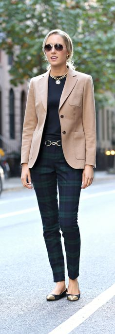 The Classy Cubicle: Pants Party. {fashion blog, young professional women, office style inspiration, corporate work wear, fall fashion trends, plaid, tartan, pants, banana republic, brooks brothers, adea, monogram necklace, gold choker, stella mccartney sunglasses, kate spade, gold toe flats}