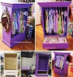 Turn an old dresser into a dress up closet!