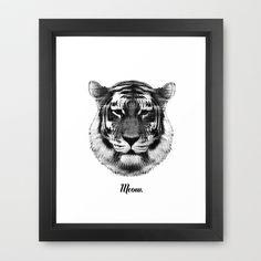 TIGER SAYS MEOW Framed Art Print by RK // DESIGN - $40.00