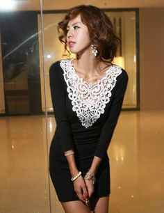 Free Shipping 2013 new arrival crochet lace collar long t-shirt style slim sexy black mini dress - CAd241 $11.86