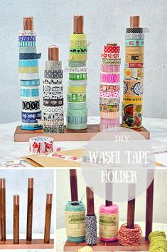 Make some great craft room storage by upcycling a broom handle into a washi tape holder. Can also be used for ribbon and twine. Diy Washi Tape Holder, Washi Tape Storage, Ribbon Storage, Diy Craft Projects, Craft Tutorials, Diy Crafts, Craft Ideas, Diy Ideas, Craft Room Storage