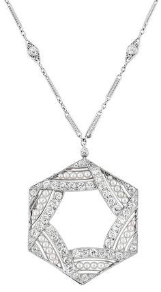 Art Deco Platinum, Seed Pearl and Diamond Pendant with Platinum and Diamond Chain Necklace. Circa 1920.