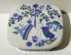 Vintage Figgjo Flint Norway Lotte Butter Box with Lid
