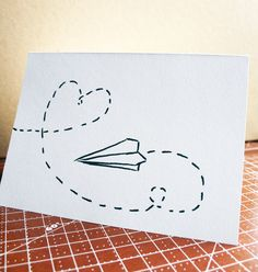 Stationery Greeting -- Paper Airplane no.1 -- Heart -- Set of 2 Cards & Envelopes. $3.50, via Etsy.