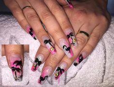 Palm tree flamingo pink gold
