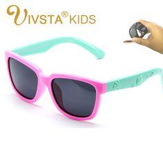 IVSTA Kids Sunglasses Girls Square Frame Child Glasses Polarized Lense Boys Children Eyewear Silicone Glass Safe Anti UV 838