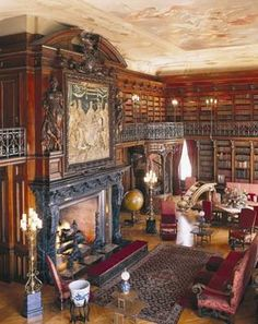 The Library at Biltmore House and there is a secret passage behind the upper floor of the fireplace!