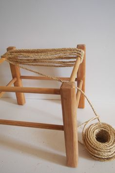 Footstool Makeover with Woven Rope is part of diy-home-decor - DIY woven rope stool made from a thrift store stool, using sisal rope and clothesline from The Home Depot Handmade Furniture, Rustic Furniture, Diy Furniture, Furniture Design, Automotive Furniture, Automotive Decor, Plywood Furniture, Furniture Stores, Chair Design