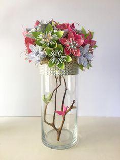 Wedding centerpiece, origami flowers, origami centerpiece, Inspiracja wedding bouquet, flower bouquet by BranchingOffStudio on Etsy