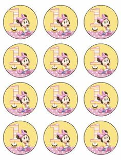 12 1st Birthday Minnie Edible Icing Cupcake Cup Cake Decoration Image Topper | eBay
