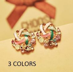 2015 New Korean Upscale Jewelry Wholesale Fashion Elegant Temperament  Distorted Color Rhinestone Stud Earrings for Women(China (Mainland)) ca78d6072829