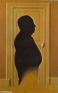 """This may be another artist's parody: Year unknown. """"Hitchcock"""" by Magritte?"""