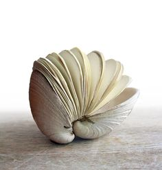 Book of the Sea Handstitched Clamshell Book Sculpture by odelae (Erica Ekrem). a functional and sculptural hand bound book. From a butter clam shell (Saxidomus giganteus) discovered on the beach off the coast of Orcas Island, WA. Book Art, Up Book, Kirigami, Altered Books, Altered Art, Architecture Origami, In Natura, Blank Journal, Bound Book